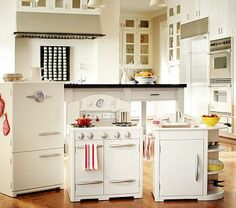 Simply White Retro Kitchen Collection #PotteryBarnKids If I were rich, I would have a big kitchen like this and Livi would have her own, like this.
