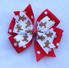 Boutique Hair Bow Christmas Hairbow by LizzyBugsBowtique on Etsy