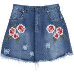 Floral Embroidered Cutoffs Ripped Denim Skirt Denim Blue S