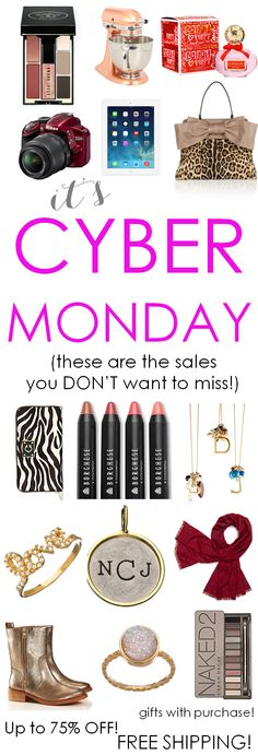 It's Cyber Monday! Looking for free shipping? Want to save up to 75% off? Want to know who is giving gifts with purchases? (These are the sales you DON'T want to miss!) http://www.theperfectpalette.com/2013/11/over-500-gift-ideas-for-ladies-in-your.html