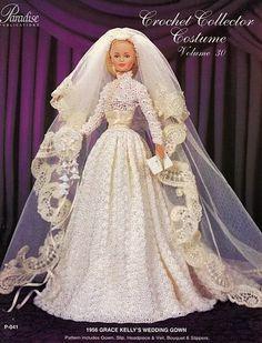 Barbie Crochê Miniaturas e Coisas Mais - De Tudo Um Pouco e Muito Mais: Vestido de Noiva de Crochê para Barbie de 1956 Igual ao da Grace Kel...