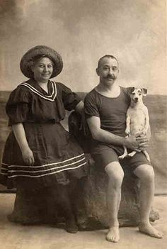 Vintage photo of a couple and their pup...