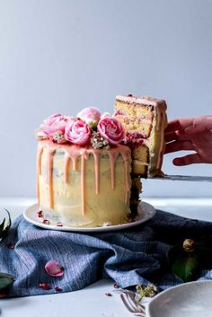 Lemon, Almond, and Raspberry Layer Cake. Pretty enough for a party.