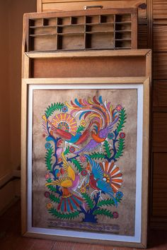 Papel Amate - Quadro Indian Art Paintings, Owl Paintings, Dengeki Daisy, Art Deco Posters, Pokemon Cosplay, Vampire Knight, Mexican Folk Art, Elements Of Art, Whimsical Art