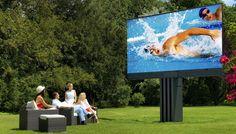 Outdoor, weatherproof, recessed LED TV designed by Porsche. Outdoor Cinema, Outdoor Tvs, Outdoor Theatre, Outdoor Ideas, Backyard Ideas, Outdoor Decor, Outdoor Living, Outdoor Furniture, Cabanas