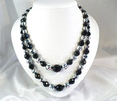 Lavish LAGUNA Vintage 16 Inch & 19 Inch Metallic Silver & Jet/Black Crystal Necklaces by MarlosMarvelousFinds, $31.88, $34.88
