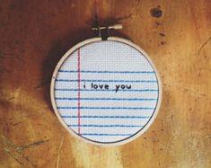 cross stitch - I love you - notebook