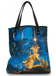 """Star Wars Luke & Leah"" Tote Bag by Loungefly (Black/Multi) #inkedshop #luke #leah #tote #darthvader #starwars"