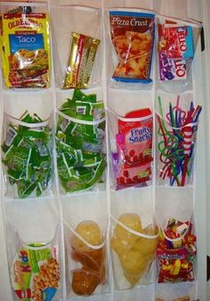 Shoe hanger for snacks in the pantry. This set-up can also work for office related closets to organize writing implements, post-its, staples, paper clips, etc.