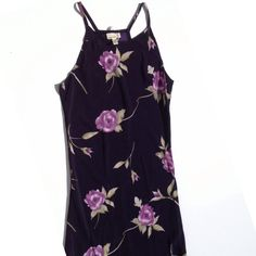 UO X Urban Renewal Vintage Long Floral Maxi Dress NWOT • This is breath taking! Definitely one of a kind. Beautiful fabric and texture. Long flowy with flared bottom. Dark navy color with large lavender rose pattern. Spaghetti Strap. Made From Vintage Recycled Fabric by Urban Outfitters. Dry Clean Only Urban Outfitters Dresses Maxi