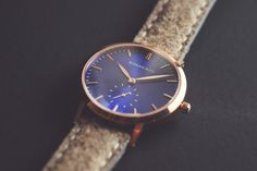 Rossling & Co - Gold & Blue with Beige Tweed Strap