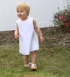 Girls White Pique Jumper Dress  can be monogrammed by InletKids, $32.00