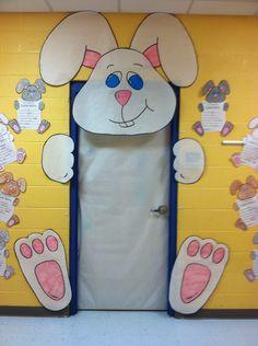 Easter bunny door decoration in kindergarten