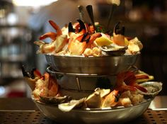 The chilled seafood tower appetizer at Pappas Steakhouse. Photos of Pappas Bros. Steakhouse as it gets ready to open its long-anticipated downtown dining room taken on Wednesday, Oct. 28, 2015, in Houston. ( Elizabeth Conley / Houston Chronicle ) Photo: Elizabeth Conley, Staff / © 2015 Houston Chronicle