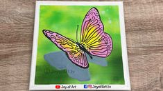 Pink Butterfly   Easy Acrylic Painting on Canvas   Joy of Art #190 Simple Acrylic Paintings, Acrylic Painting Canvas, Mini Canvas, Pink Butterfly, Painting & Drawing, Joy, Drawings, Glee, Sketches