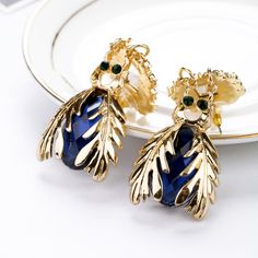 Fabulous Dangle Earrings With Pink And Royal Blue Artificial Gemstones
