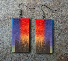 Abstract art polymer clay earrings by adrianaallenllc on Etsy, $10.00