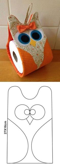 "diy_crafts-Buo porta papel higienico … ""Discover thousands of images about Toilettenpapierr Hobbies And Crafts, Diy And Crafts, Fabric Crafts, Sewing Crafts, Craft Projects, Sewing Projects, Owl Crafts, Diy Couture, Toilet Roll Holder"