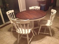Doing same with my old 70's very dark pine pedestal table and tavern chairs.  Can't wait.