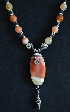 Agate Gemstone Necklace by LKArtChic on Etsy