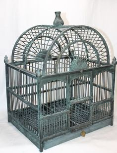 Beautiful Vintage Green Wooden Bird Cage #handmade