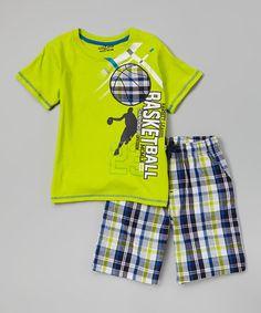 Look at this #zulilyfind! Green 'Basketball' Tee & Plaid Shorts - Infant, Toddler & Boys #zulilyfinds