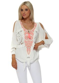 e223084bc4 LAURIE   JOE Cream Neon Coral Embroidered Tie Top