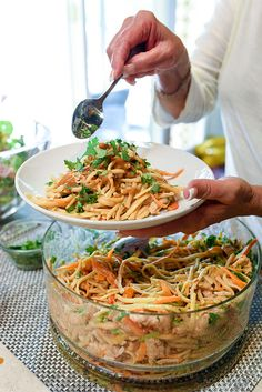 This Asian-flavored cold pasta salad is an all-in-one meal or popular side dish. Peanut Noodles With Chicken - foodiecrush Potluck Side Dishes, Main Dishes, Asian Recipes, Healthy Recipes, Peanut Noodles, Fruit Salad Recipes, Munnar, Living At Home, Asian Cooking