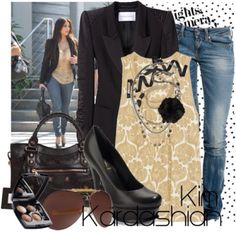 I love the jean and blazer jacket style.  It allows you to have a day and night look together. After work / business take off the blazer and be ready to go with a nice blouse under! The pumps black shoes keep it classy and hot! Kim Kardashian wears this style a lot and looks great!