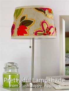 Pretty-ful Lampshade pattern from Stash Happy: Appliqué by Cynthia Shaffer. FREE DOWNLOAD from Lark Crafts on Stumbles & Stitches