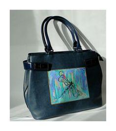 Malowana ręcznie torebka. Ilustracja z ważką. #handpainted #bag #idylla #stylish