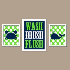 kid bathroom/ Nautical Sea Ocean Animal Whale Crab WASH Brush Flush by trmDesign, $32.00