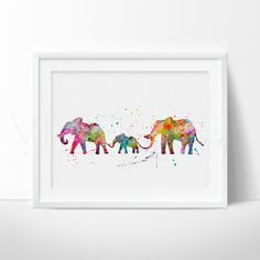 Elephant Family Watercolor Art Print from www.vivideditions.com. Saved to Room Things . #theregreat #beyondbeautiful.
