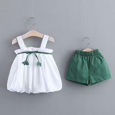 Ruffled Sling Top and Solid Shorts Set Girls Frock Design, Baby Dress Design, Baby Girl Dress Patterns, Frocks For Girls, Toddler Girl Dresses, Little Girl Dresses, Cute Baby Girl Outfits, Cute Baby Clothes, Kids Outfits