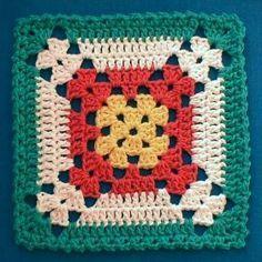 Ideia para um quadrado de crochê colorido
