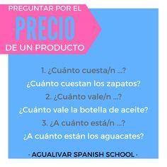 Hablar sobre el precio en español. Spanish grammar. Boarding Pass, Bottles, Avocado