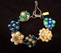 Vintage Cluster Bracelet Earring Beaded Blue Green Pearls Unique Designer Wedding Brides Maids  By VintElegance.com