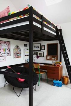 Loft beds are excellent space saving ideas for small rooms. Nothing better than a loft bed makes a small bedroom more spacious, functional and comfortable. Loft beds create extra space by building the bed upward and allowing the space below it to be Bedroom Loft, Dream Bedroom, Bedroom Decor, Bedroom Ideas, Kids Bedroom, Bedroom Small, Bedroom Colors, Girl Bedrooms, Bedroom Furniture