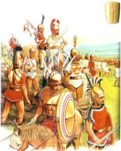 Samnite warriors stand victorious and watch the defeated Roman Republican army walk under the yoke after the battle of the Caudine Forks. This was considered to be a most humiliating insult. The Republic as usual didn't forget.