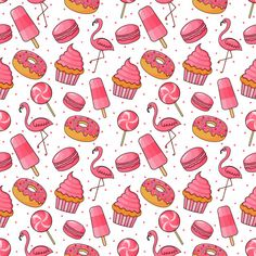Cute Bakery And Candy Seamless Pattern. Desserts For Cafe Or Pastry Shop. Cute Bakery, Candy Art, Illustration Vector, Pastry Shop, Icon Set, Retro, Vector Freepik, Watch Faces, Creative