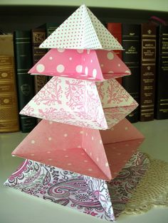 Origami Pink Patterns Tree Centerpiece or Table Decoration by PaperImaginations Tree Centerpieces, Table Decorations, Origami Decoration, Pink Patterns, Paper Crafts, Crafty, Unique Jewelry, Handmade Gifts, Holiday