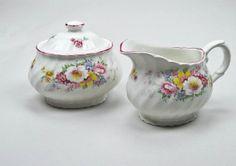 Vintage James Kent Old Foley Mini Creamer and Sugar Bowl Fine English Earthenware