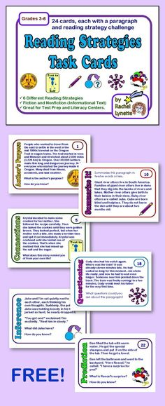 Use this free set of free reading strategy task cards to help your students practice these important skills. Students can answer on notebook paper and use the included recording sheet to keep track of the cards they have completed. Another option is to us