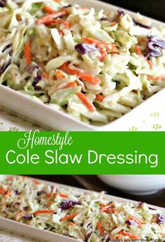 Fresh cabbage dressed with Homestyle Cole Slaw Dressing is so versatile you'll find yourself returning to it over and over again. Side Dish Recipes, Dinner Recipes, Side Dishes, Cooking Recipes, Healthy Recipes, Healthy Salads, Cabbage Slaw, Vegetable Sides, Vegetable Salads