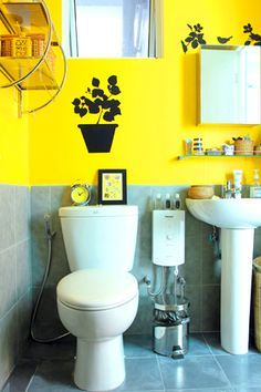 The Bathroom Walls Are Painted Bright Yellow To Immediately Liven Up The  Area. Small Knick Knacks And More Wall Stickers From Japan Home Store Make  The ...