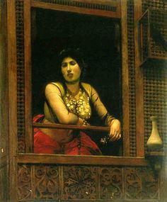 Jean-Léon Gérôme (Fench , 1824 – 1904)  –  Woman at her Window