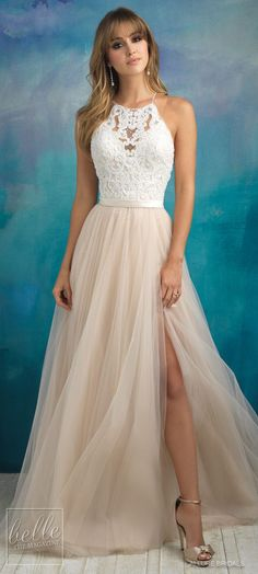 Bridal Trends: Halter Wedding Dresses | Allure Bridals Fall 2018 a-line lace bridal dress with sweetheart neckline blush tulle skirt | High neck elegant bridal gown for the romantic bride. #weddingdress #weddingdresses #bridalgown #bridal #bridalgowns #weddinggown #bridetobe #weddings #bride #weddinginspiration #dreamdress #fashionista #weddingideas #bridalcollection #bridaldress #fashion #dress See more halter bridal dresses by clicking on the photo