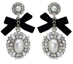 White Pearl, Crystal and Black Bow Bridal Earring - Wedding Jewelry by JewelryStylist.com, http://www.amazon.com/dp/B006PHLOGQ/ref=cm_sw_r_pi_dp_kxQDpb0MBA1WX