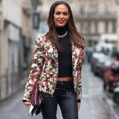Joan Smalls in Givenchy and Paige Denim