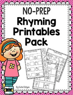 "Rhyming Printables Pack - Use this set of 10 NO PREP printable worksheets with your Kindergarten or 1st grade students. You get cut & match pages, ""Rhyme in a Row"", and ""Draw a Rhyme"". These are great for morning work, centers or stations, sub tubs, whole group review, and more. Grab them for your kinders or first graders now!"